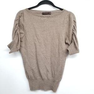 The Limited Ruched Sleeve Taupe Sweater Top